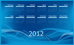 Calendar for 2012. Week starts on Sunday. Abstract waves blue background Royalty Free Illustration