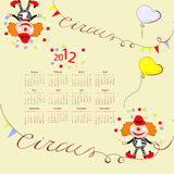 Calendar for 2012. With circus illustration Stock Illustration