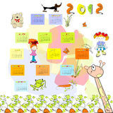 Calendar for 2012. With cartoon style illustration Stock Photography