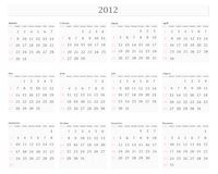 Calendar 2012. Illustration of horizontal 2012 calendar template with borders Stock Image