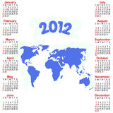 Calendar for 2012. Calendar for 2012 with map. American style Royalty Free Stock Photography