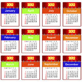 Calendar for 2012. Set of icons of a calendar for 2012. The American style Royalty Free Stock Photography