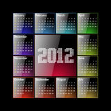 Calendar 2012. Glossy - (US, sunday first), glossy and colorful Stock Photography