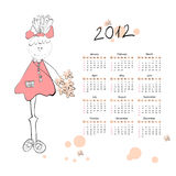 Calendar for 2012. With a small girls stock illustration