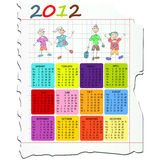 Calendar for 2012. 2012 calendar on math paper with kids drawings Vector Illustration