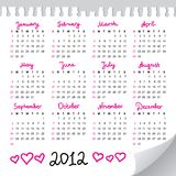 Calendar 2012. Year on realistic paper sheet Royalty Free Stock Photography