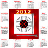 Calendar for 2012. Calendar for 2012 with icon Target and arrows. The American style. vector Royalty Free Stock Image