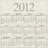 Calendar 2012. Design of calendar 2012 on ornament background Stock Image