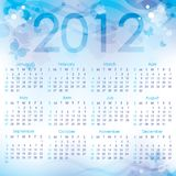 Calendar 2012. Blue abstract background with butterflies Royalty Free Stock Images