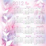 Calendar 2012. Pink abstract background with butterflies Stock Images