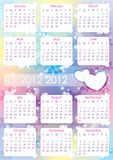 Calendar 2012. Beautiful abstract background with hearts Stock Images