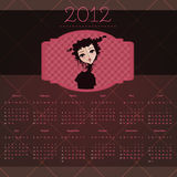 Calendar 2012. Year with retro girl theme vector illustration