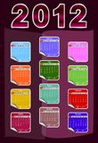 Calendar for 2012. 2012 annual calendar template. Weeks start on Sunday. EPS file available Stock Images