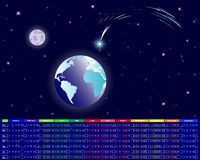 Calendar for 2012. Christmas star; earth and moon on a night sky Royalty Free Stock Images