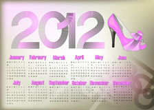 Calendar 2012. Stylish abstract calendar on 2012 year with pink shoe Royalty Free Stock Images