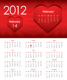 Calendar for 2012. Special calendar for 2012 with valentine design Royalty Free Stock Images