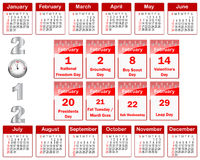 Calendar for 2012. Royalty Free Stock Photos