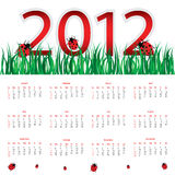 Calendar for 2012. Special calendar for 2012 with ladybirds Stock Image