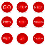 Buttons with righting Stock Photo