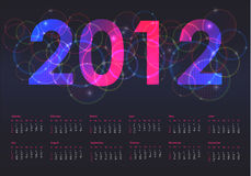 Calendar for 2012. Colorful calendar for 2012, week starts on Sunday Stock Illustration