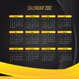 Calendar 2012. Black and yellow calendar 2012 background. vector illustration stock illustration