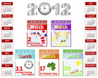 Calendar for 2012. Calendar with celebratory symbols for March 2012. American style. Vector illustration royalty free illustration