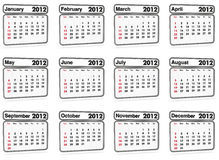 Calendar 2012 - all months. 2012 calendar on white background (3d render Royalty Free Stock Image