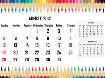 Calendar 2012 August Royalty Free Stock Image