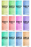 Calendar 2012 Colour Paper. Background Stock Illustration