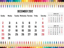 Calendar 2012 December Royalty Free Stock Photos