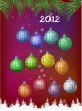Calendar 2012 - decoration balls Stock Photos