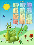 Calendar 2012 with dragon. Drawn in child-like style. Vector royalty free illustration