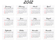 Calendar for 2012 in English (vector). Calendar for 2012 in English; week starts with Sunday (vector stock illustration