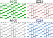 Calendar for 2012 in English (vector) Royalty Free Stock Images