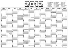Calendar 2012 with german holidays (vector) Stock Photography