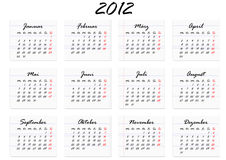 Calendar for 2012 in German (vector). Calendar for the year 2012 in German (vector Royalty Free Stock Photo