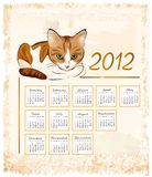 Calendar 2012 with ginger tabby cat. Vintage calendar 2012 with ginger tabby cat Vector Illustration