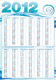 Calendar 2012 in italian ocean style. Calendar 2012 in italian ocean waves style with bubbles stock illustration
