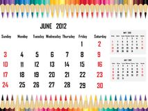 Calendar 2012 June Royalty Free Stock Photo