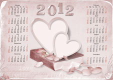 Calendar 2012 for love. week starts with sunday. Calendar 2012  with heart anf roses Royalty Free Stock Image