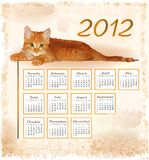 Calendar 2012 with lying ginger kitten. Hand drawn calendar 2012 with lying ginger kitten Stock Illustration