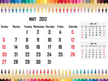 Calendar 2012 May Royalty Free Stock Photography