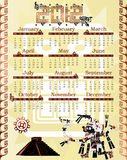 Calendar 2012 in mayan style with god Stock Photos