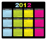 Calendar 2012 monday-sunday. Colorful design for calendar for 2012 - monday-sunday Royalty Free Stock Images
