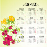 Calendar 2012 with pink flowers Royalty Free Stock Photography