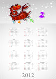 Calendar 2012 with a red dragon: on white Royalty Free Stock Images