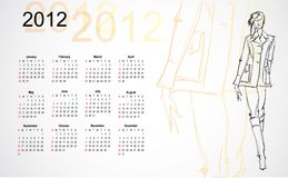 Calendar 2012. sketch of the girl. Royalty Free Stock Photography