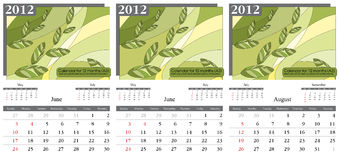 Calendar 2012. Summer. Summer month. 2012 Calendar. Times New Roman and Garamond fonts used. A3 Stock Photo