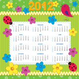 Calendar 2012 - SUNDAY. Scrapbook style calendar; Week starts SUN royalty free illustration