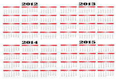 Calendar from 2012 to 2015. Calendar in Spanish 2012-2013-2014-2015 Royalty Free Stock Photos